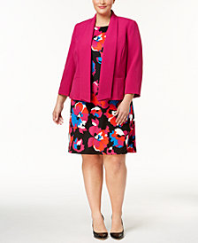 Kasper Plus Size Blazer & Printed Sheath Dress