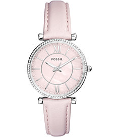 Fossil Women's Carlie Pastel Pink Leather Strap Watch 36mm