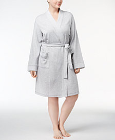 Charter Club Plus Size Short Knit Robe, Created for Macy's