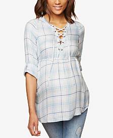 Motherhood Maternity Plaid Lace-Up Tunic