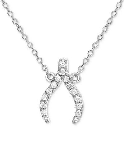 Diamond wishbone pendant necklace 18 ct tw in 14k white gold diamond wishbone pendant necklace 18 ct tw in 14k white gold aloadofball Image collections