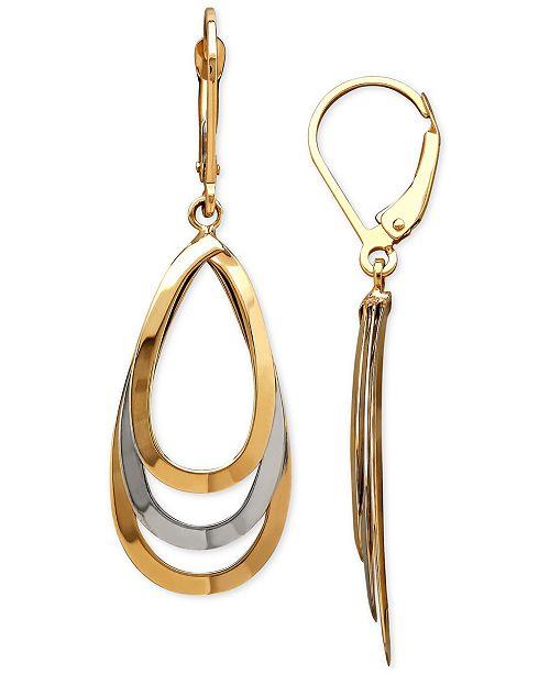 Macy's Two-Tone Layered Teardrop Drop Earrings in 14k Gold & White Gold
