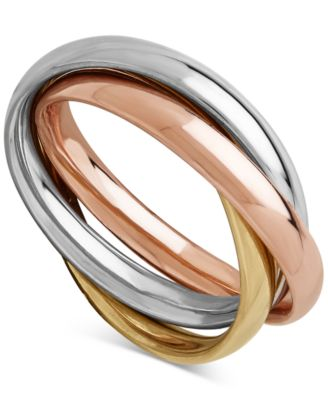 TriGold MultiBand Ring in 14k Gold White Gold Rose Gold Rings