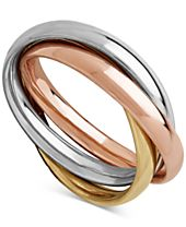 Tri-Gold Multi-Band Ring in 14k Gold, White Gold & Rose Gold