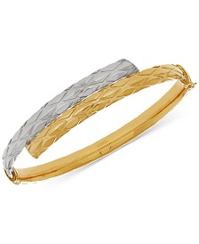 Two-Tone Textured Bypass Bangle Bracelet in 14k Gold & White Gold