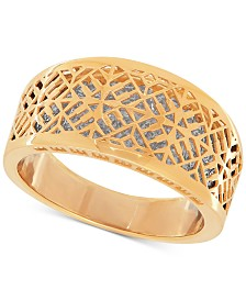 Two-Tone Web Overlay Ring in 14k Gold and Rhodium-Plate