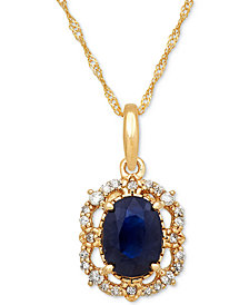 Sapphire (1 ct. t.w.) & Diamond (1/10 ct. t.w.) Pendant Necklace in 14k Gold