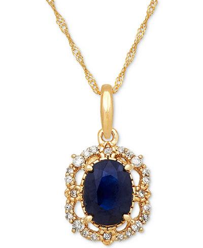 Sapphire (1 ct. t.w.) & Diamond (1/10 ct. t.w.) Pendant Necklace in 14k Gold