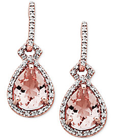 Morganite (3 ct. t.w.) & Diamond (1/5 ct. t.w.) Drop Earrings in 10k Rose Gold