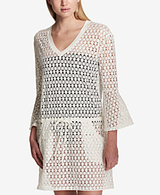 Calvin Klein Crochet Bell-Sleeve Tunic Cover-Up