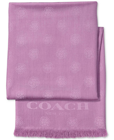 COACH Tea Rose Jacquard Oblong Scarf