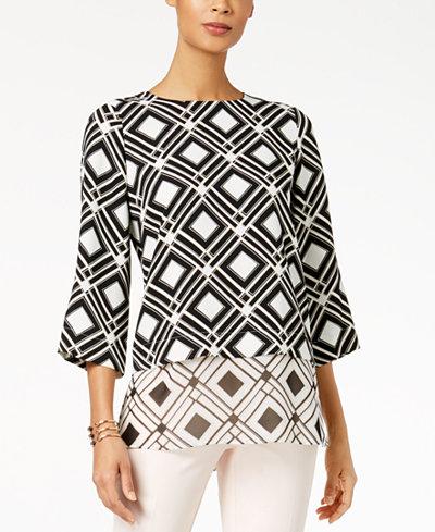 Alfani Printed Layered-Look Mixed-Media Tunic, Created for Macy's