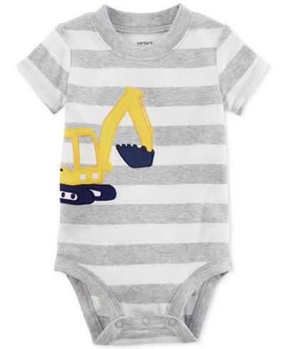 Carter's Construction Truck Striped Cotton Bodysuit, Baby Boys