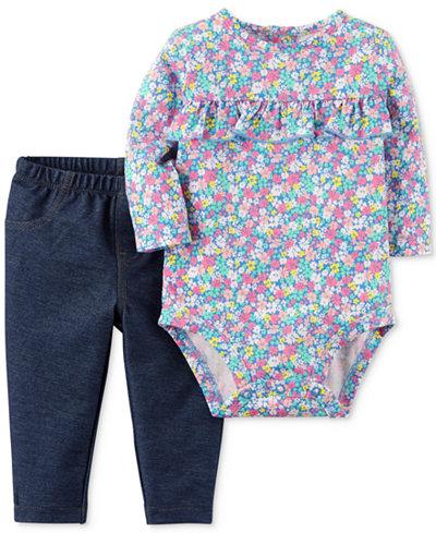 Carter's 2-Pc. Floral-Print Bodysuit & Jeans Set, Baby Girls
