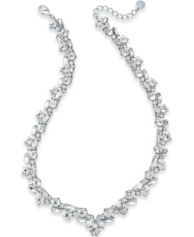 Charter Club Silver-Tone Crystal Cluster V Necklace, Created for Macy's