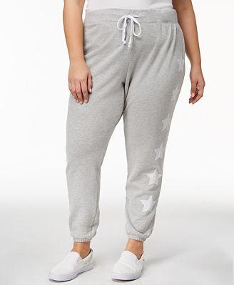 Almost Famous Trendy Plus Size Star-Print Sweatpants