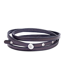 DEGS & SAL Men's Leather Wrap Bracelet in Stainless Steel