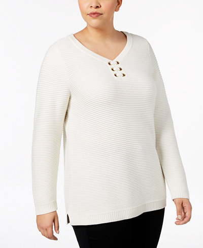 Charter Club Plus Size Ribbed-Knit Tunic Sweater, Created for Macy's