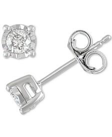 Diamond Stud Earrings (1/5 ct. t.w.) in Sterling Silver, 14K Gold or Rose Gold over Sterling Silver