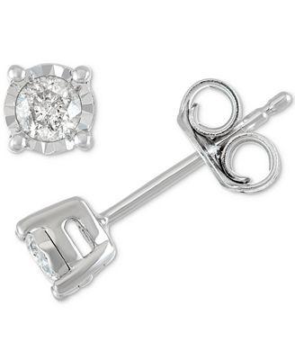 Macy S Diamond Stud Earrings 1 5 Ct T W In Sterling Silver 14k