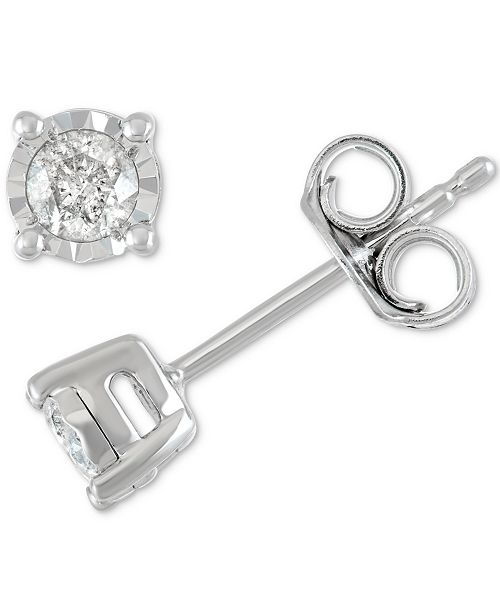 dcc486812 ... Macy's Diamond Stud Earrings (1/5 ct. t.w.) in Sterling Silver, ...