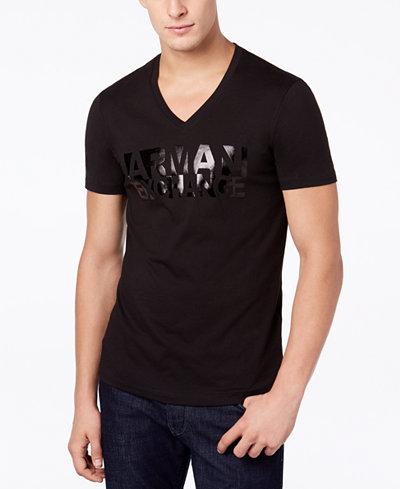 Armani Exchange Men's Logo-Print V-Neck Slim Fit T-Shirt