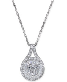 Diamond Baguette Cluster Pendant Necklace (1/2 ct. t.w.)