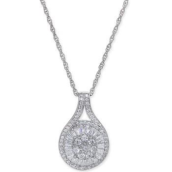 Macy's Diamond Baguette Cluster Pendant Necklace