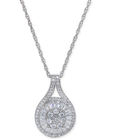 Diamond Baguette Cluster Pendant Necklace (1/2 ct. t.w.) in Sterling Silver