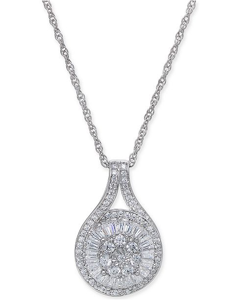 Macy's Diamond Baguette Cluster Pendant Necklace (1/2 ct. t.w.)