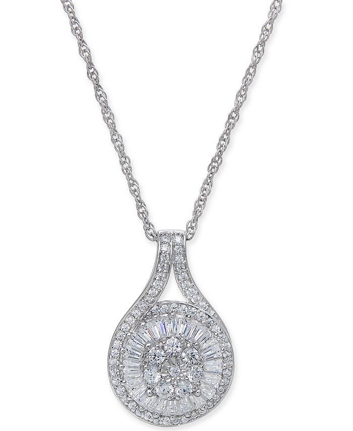 Macy's - Diamond Baguette Cluster Pendant Necklace (1/2 ct. t.w.)
