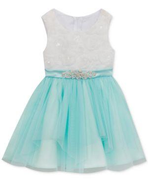Rare Editions Ivory & Mesh Dress, Baby Girls 5336541