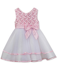 Rare Editions Basket-Weave Bodice Dress, Baby Girls