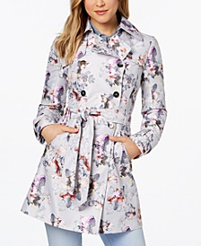 Floral Double-Breasted Water-Resistant Trench Coat