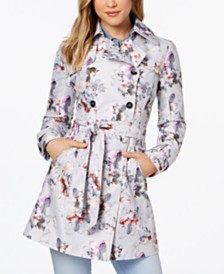 GUESS Floral Double-Breasted Water-Resistant Trench Coat