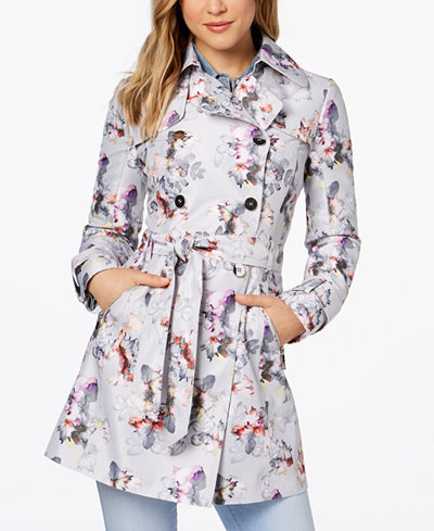 Guess Floral Print Belted Trench Coat Coats Women Macy S