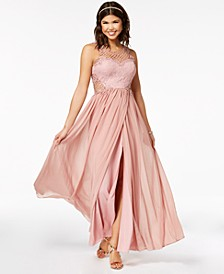 Juniors' Embellished Illusion Tulip Gown