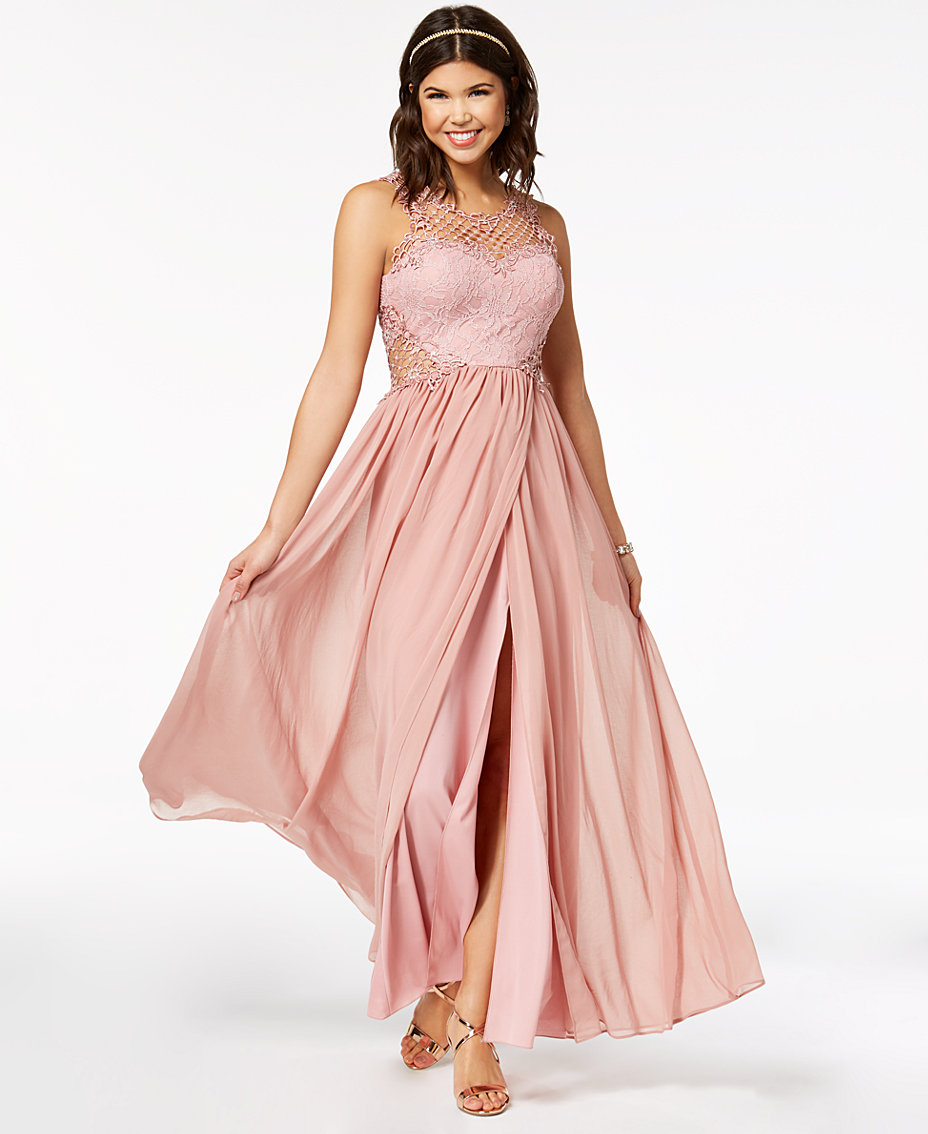 a8234732e36 City Studios Juniors  Embellished Illusion Tulip Gown