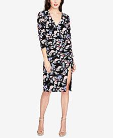 RACHEL Rachel Roy Printed & Ruched Dolman-Sleeve Dress