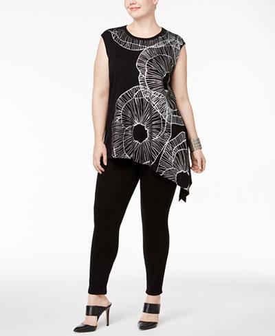 Anne Klein Plus Size Asymmetrical-Hem Tunic Sweater