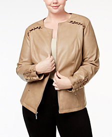 Alfani Plus Size Ruffle-Trim Faux-Leather Jacket, Created for Macy's