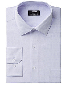 Alfani Men's Classic/Regular Fit Performance Stretch Easy-Care Maze Texture Dress Shirt, Created for Macy's