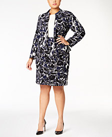 Kasper Plus Size Printed Jacket & Pencil Skirt