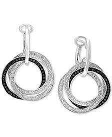 EFFY® Diamond Interlocking Ring Hoop Earrings (7/8 ct. t.w.) in 14k White Gold