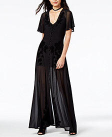 MINKPINK Velvet-Detail Illusion Maxi Dress