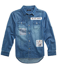 Sean John Aristocratic Patches Cotton Shirt, Big Boys