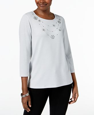 Alfred Dunner Lakeshore Drive Embellished-Neck 3/4-Sleeve Top