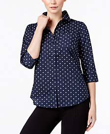 Karen Scott Petite Cotton Printed Button-Front Shirt, Created for Macy's