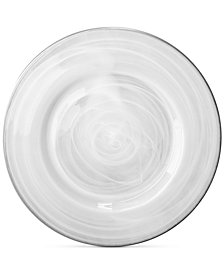 Jay Imports Alabaster Glass Charger Plate With Silver-Tone Rim