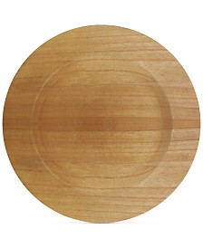 Jay Imports Brown Faux Wood Charger Plate